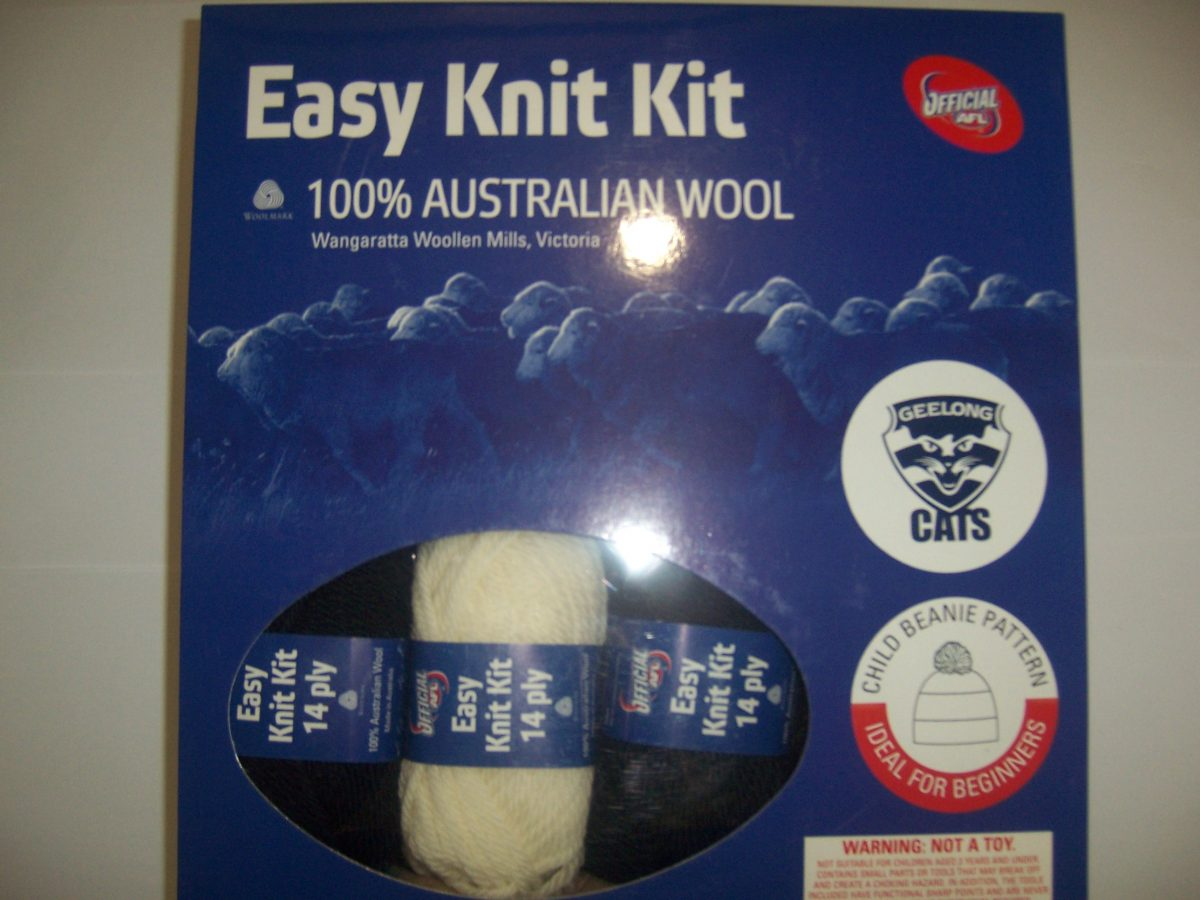 ec92959b7 AFL Easy Knit Kit - Geelong Cats Child Beanie